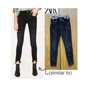 NEW Zara Black Studded Skinny Jeans Metal Pierced